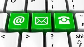 键盘绿色联络 免版税库存图片