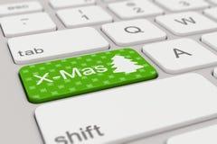 键盘- x-mas -绿色 免版税库存图片