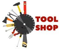 锯、钳子、轴和其他工具为建筑和修理 免版税库存图片