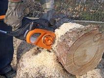 锯切木柴 免版税图库摄影