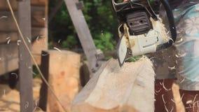 锯家的锯切木头 影视素材