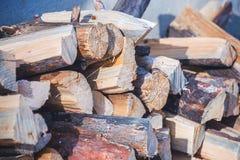 锯成木,在雪日志的谎言 免版税图库摄影