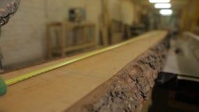 锯木厂措施的一名工作者测量的磁带和笔记与一支铅笔进一步切口的,特写镜头 股票录像
