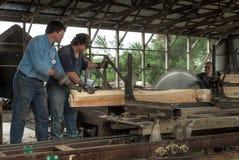 锯木厂操作员饲料板条通过磨房 免版税图库摄影