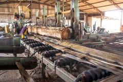锯木厂的工作者 免版税图库摄影