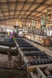 锯木厂的工作者 库存照片