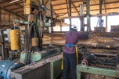 锯木厂的工作者 图库摄影