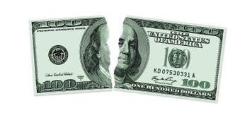 锯状的一百美元 免版税库存图片