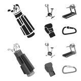 锻炼脚踏车,踏车,手套拳击手,锁 在黑色的体育集合汇集象, monochrom样式传染媒介标志股票 库存照片