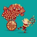 镀狮子跳舞的中国孩子 向量例证