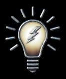 镀铬与雷电的电灯泡在黑色 库存图片