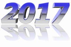 镀铬与颜色梯度反射的2017个数字在光滑的白色背景 免版税图库摄影