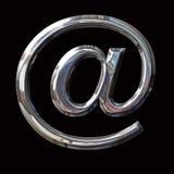 镀铬物与道路的电子邮件标志 免版税库存照片