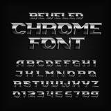镀铬物作用字母表字体 钢倾斜信件和数字 向量例证