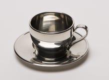 镀铬物咖啡杯 免版税库存照片