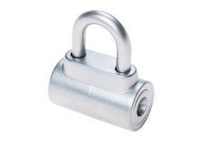 镀铬物在白色的金属挂锁 库存照片