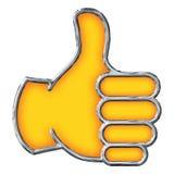 镀铬物在白色的Emoji赞许 库存照片