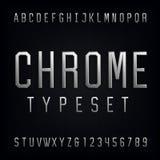 镀铬物字母表向量字体 免版税图库摄影