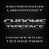 镀铬物字母表字体 金属作用倾斜信件、数字和标志 向量例证