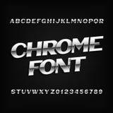 镀铬物字母表字体 金属化作用信件和数字在黑暗的背景 向量例证