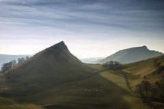 镀铬物小山和Parkhouse小山惊人的风景在峰顶Dis 免版税库存照片