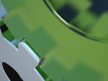 镀铬物嵌齿轮玻璃绿色 免版税图库摄影
