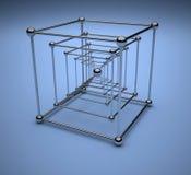 镀铬物立方体框架 图库摄影