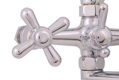 镀铬物龙头和淋浴喷头(裁减路线) 库存照片