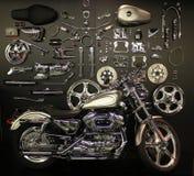 镀铬物motorcyle和替换件 免版税库存照片