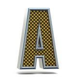 镀铬金属桔子被加点的字体信件A 3D 免版税库存照片