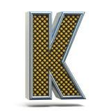 镀铬金属桔子被加点的字体信件K 3D 库存图片