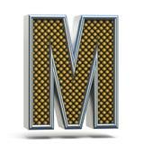 镀铬金属桔子被加点的字体信件M 3D 免版税库存图片