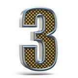 镀铬金属桔子被加点的字体号三3个3D 库存图片
