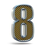 镀铬金属桔子被加点的字体号八8个3D 免版税库存图片