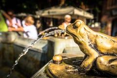镀青铜被镀金的青蛙雕塑倾吐的水,喷泉的细节 免版税库存图片
