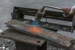 镀黄铜的气体火炬 免版税库存图片