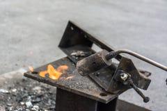 镀黄铜的气体火炬 库存图片