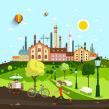 镇、城市有老工厂的和议院 免版税库存图片