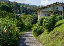 镇与白色房子的La terraza 库存图片