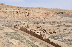 镇东方狐鲣废墟, Chaco峡谷,新墨西哥(美国) 免版税库存照片