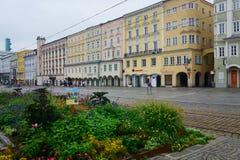 镇中心在林茨,奥地利 库存图片