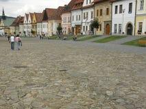 镇中心在Bardejov 库存图片