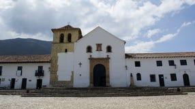 镇中心的看法在Villa de莱瓦,哥伦比亚,南Ame 图库摄影