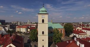 镇中心空中全景在Rzeszow,波兰 免版税库存图片