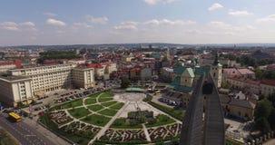 镇中心空中全景在Rzeszow,波兰 免版税图库摄影