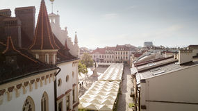 镇中心空中全景在Rzeszow 免版税库存图片