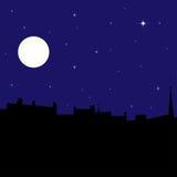 镇剪影在晚上,例证 免版税库存照片