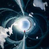 镇压的人在贝加尔湖蓝色冰从Olkhon的 球状360全景一点行星 图库摄影