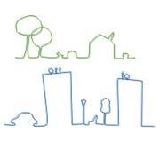 镇和村庄特点白色背景的 免版税库存图片