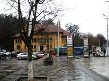 镇图书馆在布拉索夫 免版税库存图片